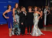 """<p>The cast of """"The View,"""" Paula Faris, Michelle Collins, Raven-Symoné, Joy Behar and Candace Cameron Bure, attend the 102nd White House Correspondents' Dinner, April 30. <i>(Photo: Larry Busacca/Getty Images)</i></p>"""