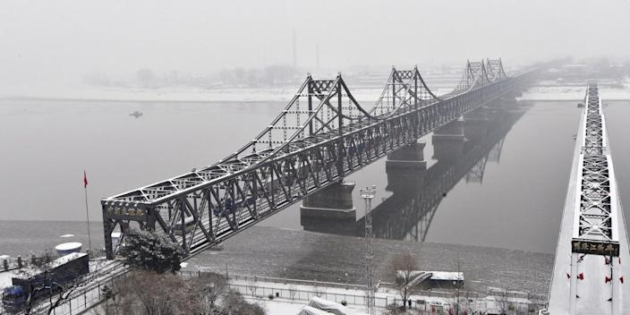A photo from Dandong, a Chinese border city with North Korea, of the Sino-Korean Friendship Bridge.
