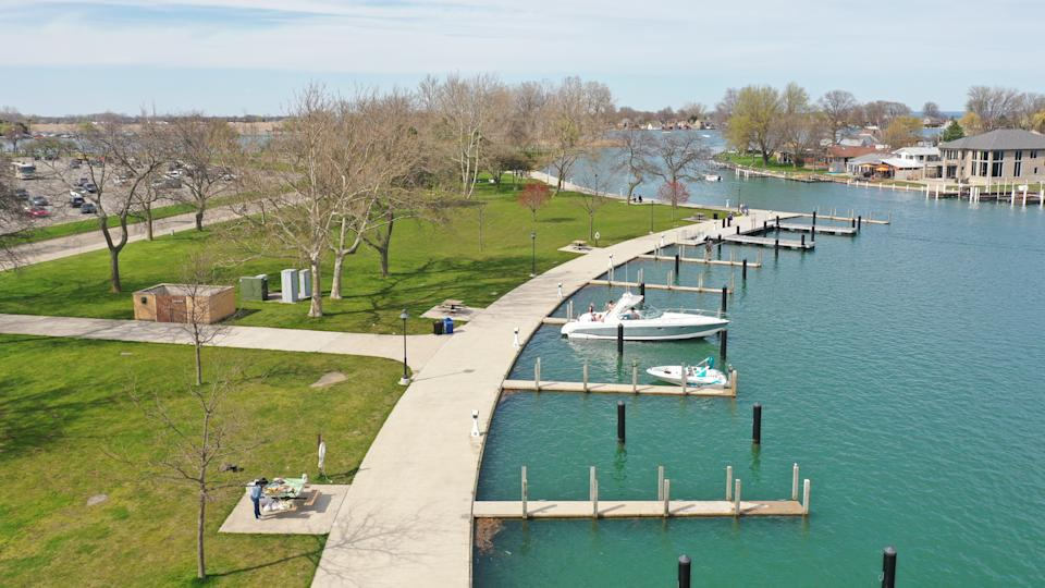 Aerial view of a boat dock at Metro Beach during the early spring in Macomb Michigan.