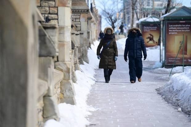 A couple of people make their way along Wellington Street in Ottawa in early March 2021. On Monday, the city's health officials reported 75 new cases and two more deaths.  (Sean Kilpatrick/Canadian Press - image credit)