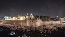 <p>Thousands of flames in the dry moat of the Tower of London as part of an installation called Beyond the Deepening Shadow: The Tower Remembers, to mark the centenary of the end of First World War. (Picture: PA) </p>