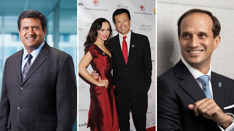 Newcrest Mining chief Sandeep Biswas on the left, James Hardie's Jack Truong with actress Karina Smirnoff in the centre, and AMP's Francesco de Ferrari.