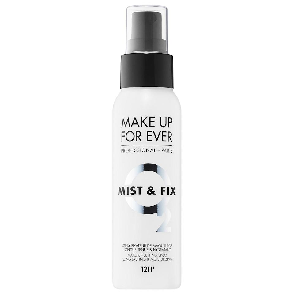 <p>Makeup smudgers and serious sweaters are no match for the <span>Make Up For Ever Mist &amp; Fix Hydrating Setting Spray</span> ($28). It's silicone-free and ideal for anyone with sensitivities to that ingredient, and it comes in a travel-size bottle, too!</p>