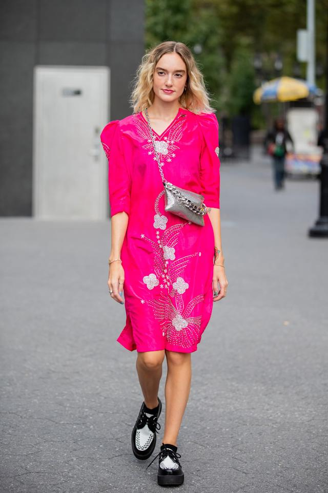 <p>Go bright with a hot pink midi dress and tone it down a tiny bit with some black and white creepers.</p>