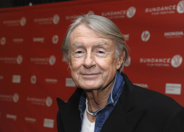 """FILE - In this Jan. 29, 2010 file photo, director Joel Schumacher attends the premiere of """"Twelve"""" during the 2010 Sundance Film Festival in Park City, Utah. A representative for Schumacher said the filmmaker died Monday, June 22, 2020, in New York after a year-long battle with cancer. He was 80. (AP Photo/Peter Kramer, File)"""