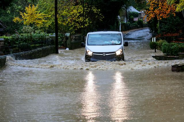 "Some roads have been turned into rivers and remain ""impassable"" (SWNS)"