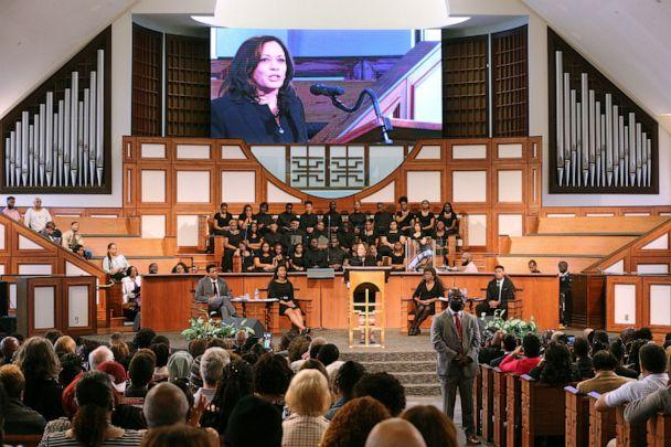 PHOTO: U.S. Sen. Kamala Harris, D-Calif., makes special remarks during the worship service at Ebenezer Baptist Church on Sunday, March 24, 2019, in Atlanta. (Curtis Compton/AP)