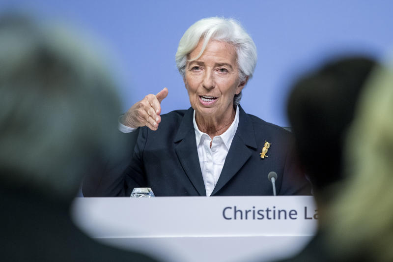 FRANKFURT AM MAIN, GERMANY - JANUARY 23: Christine Lagarde, President of the European Central Bank (ECB), speaks to the media following a meeting of the ECB's Governing Council on January 23, 2020 in Frankfurt, Germany. Lagarde took the helm of the ECB on November 1 of last year, succeeding Mario Draghi. (Photo by Thomas Lohnes/Getty Images)
