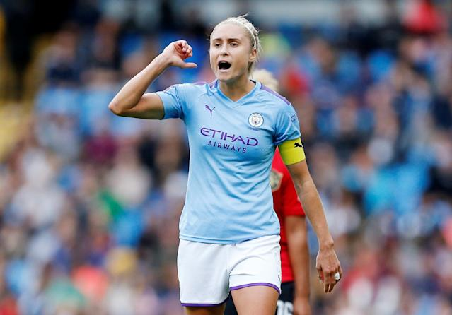 Manchester City's Steph Houghton is not willing to buck under pressure Action Images via Reuters/Craig Brough