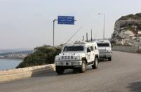 A UN peacekeepers (UNIFIL) vehicles are pictured in Naqoura, near the Lebanese-Israeli border