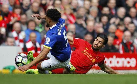 Britain Soccer Football - Liverpool v Everton - Premier League - Anfield - 1/4/17 Everton's Ashley Williams fouls Liverpool's Emre Can Reuters / Phil Noble Livepic