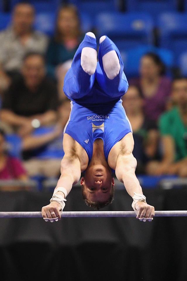 ST. LOUIS, MO - JUNE 9: Jonathan Horton compete on the high bar during the Senior Men's competition on Day Three of the Visa Championships at Chaifetz Arena on June 9, 2012 in St. Louis, Missouri. (Photo by Dilip Vishwanat/Getty Images)