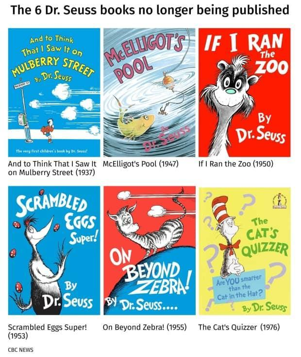 The Dr. Seuss books that will no longer be published. All six will be pulled from publication because of racist and insensitive imagery, Dr. Seuss Enterprises said Tuesday. (CBC - image credit)