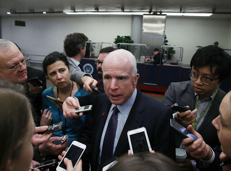 Mr McCain has an often tense relationship with Mr Trump: Getty