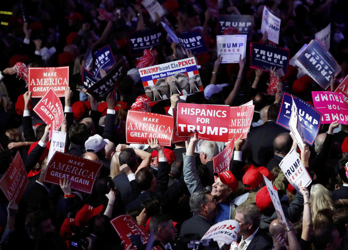 <p>Trump supporters celebrate as election results come in ahead of the rally for Republican U.S. presidential nominee Donald Trump in New York City, New York, Nov. 8, 2016. (Photo: Andrew Kelly/Reuters) </p>