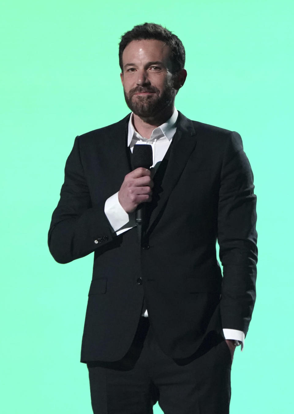 """Ben Affleck speaks at Vax Live: The Concert to Reunite the World"""" on Sunday, May 2, 2021, at SoFi Stadium in Inglewood, Calif. (Photo by Jordan Strauss/Invision/AP)"""