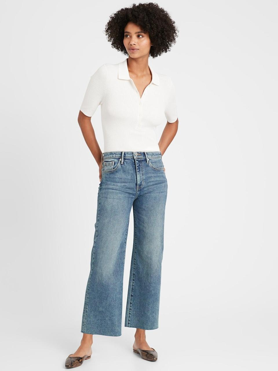 """<p>Though not a cozy knit, these <span>Banana Republic High-Rise Wide-Leg Cropped Jean</span> ($59, originally $119) are a great sustainable way to <a href=""""https://www.popsugar.com/fashion/best-gap-wide-leg-jeans-review-48056798"""" class=""""link rapid-noclick-resp"""" rel=""""nofollow noopener"""" target=""""_blank"""" data-ylk=""""slk:try this denim style"""">try this denim style</a>.</p>"""