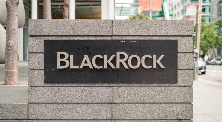 A BlackRock (BLK) sign out front of a BlackRock office in San Francisco, California.