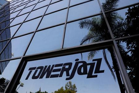 FILE PHOTO - The logo of Israeli chipmaker TowerJazz is seen at their offices in Migdal HaEmek, northern Israel September 13, 2017. REUTERS/Ronen Zvulun/File Photo