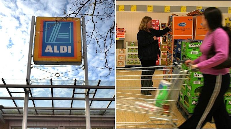 Aldi sign on the left and two women shopping inside a Aldi supermarket.