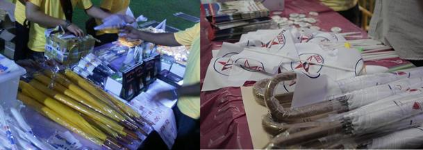 The merchandise booths at Reform Party and Singapore People's Party rallies. (Yahoo! photos / Ignatius Chay, Marianne Tan)