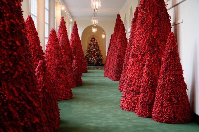 The infamous blood red Christmas trees featured in the 2018 White House Christmas Decor
