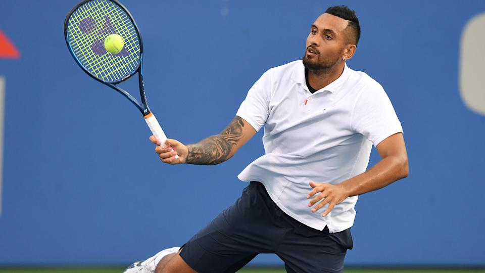 Nick Kyrgios simply seemed to be off his game as he was knocked out of the Citi Open in the first round. (Photo by Mitchell Layton/Getty Images)