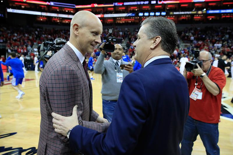 Louisville coach Chris Mack and Kentucky coach John Calipari