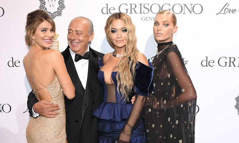 De Grisogono founder Fawaz Gruosi with Camila Morrone, Rita Ora and Elsa Hosk at the jeweller's 'Love on the rocks' party in Cannes in 2017. Also in attendance were Isabel dos Santos and Sindika Dokolo.