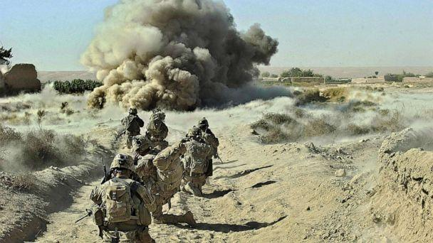 PHOTO: Dust kicks off the ground during an operation by US Army soldiers attached to the 2nd platoon, C-Coy. 1-23 Infantry based at Zangabad foward operating base in Panjwai ditrict, Afghanistan, Sept. 23, 2012. (Tony Karumba/AFP via Getty Images, FILE)