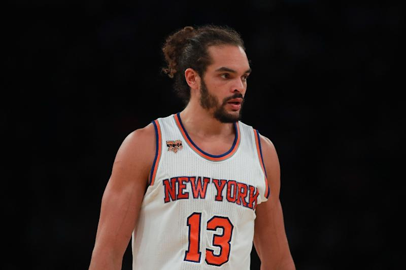 Joakim Noah of the New York Knicks looks on against the Memphis Grizzlies during the first half at Madison Square Garden