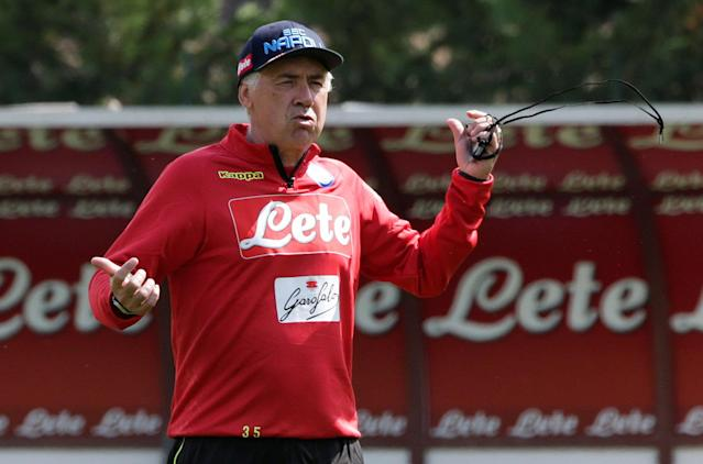 New Napoli's coach Carlo Ancelotti gestures during a training session in Dimaro, northern Italy July 11, 2018. REUTERS/Ciro De Luca