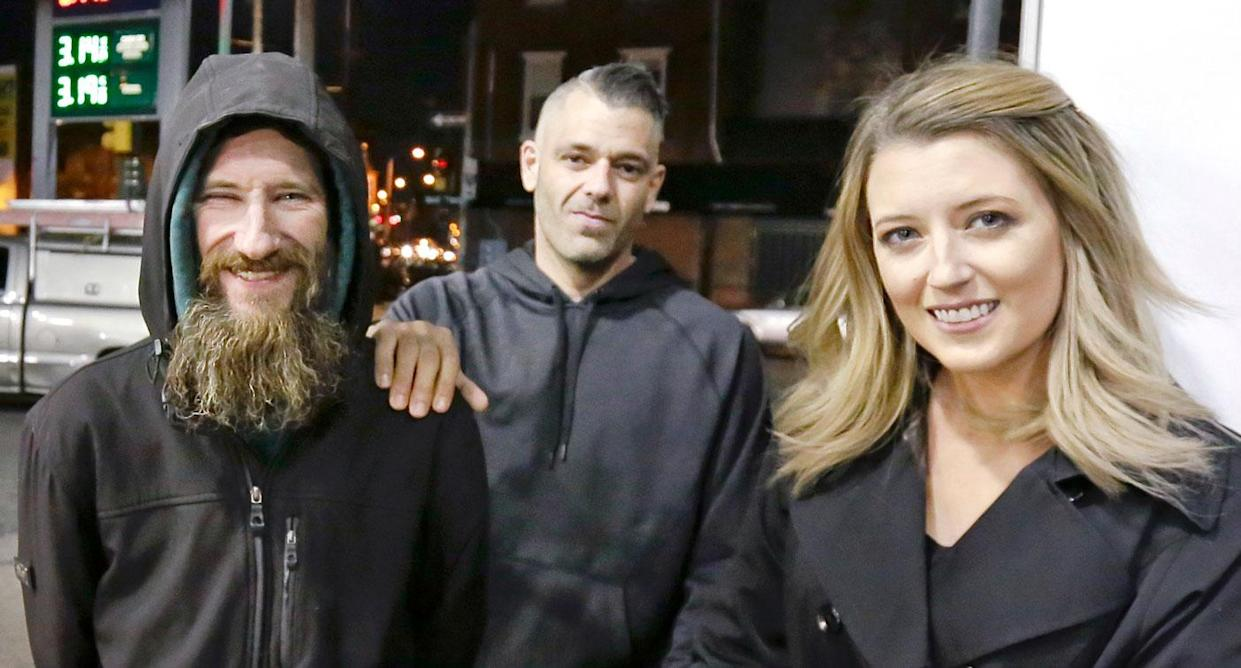 Homeless war veteran Johnny Bobbitt, 34, used his last $20 to fill up the gas tank of stranded motorist Kate McClure (right) in Philadelphia. Source: AAP