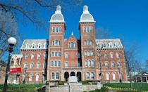 """<p><strong>Established in 1781</strong></p><p><strong>Location: Washington, Pennsylvania <br></strong></p><p>W&J College <a href=""""https://www.washjeff.edu/wj-history"""" rel=""""nofollow noopener"""" target=""""_blank"""" data-ylk=""""slk:began in 1781"""" class=""""link rapid-noclick-resp"""">began in 1781</a>, not long after the American Revolution. Three log cabin schools merged together to become W&J, and in 1865, it merged with Jefferson College to become Washington & Jefferson. Old Main, pictured here, is one of the most prominent buildings on campus.</p>"""
