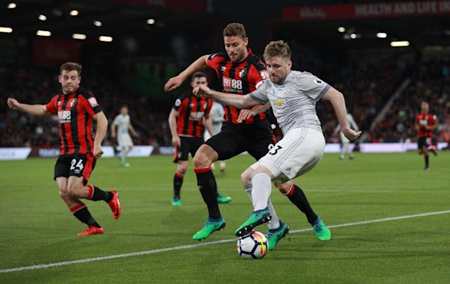"Soccer Football - Premier League - AFC Bournemouth vs Manchester United - Vitality Stadium, Bournemouth, Britain - April 18, 2018 Manchester United's Luke Shaw in action with Bournemouth's Simon Francis REUTERS/Ian Walton EDITORIAL USE ONLY. No use with unauthorized audio, video, data, fixture lists, club/league logos or ""live"" services. Online in-match use limited to 75 images, no video emulation. No use in betting, games or single club/league/player publications. Please contact your account representative for further details."