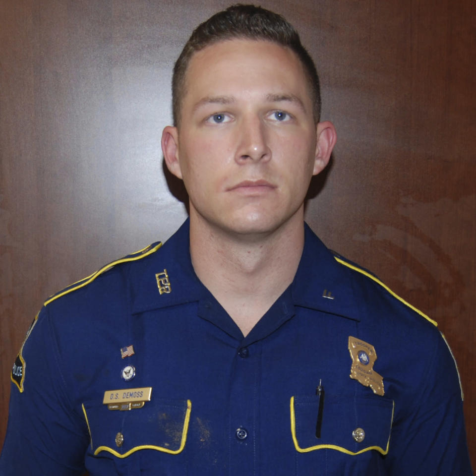 This May 10, 2019 photo provided by the Louisiana State Police shows Trooper Dakota DeMoss, in West Monroe, La., after troopers punched, dragged and stunned Black motorist Ronald Greene during his fatal 2019 arrest. (Louisiana State Police via AP)