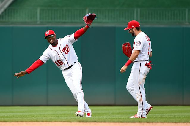 Outfielders Victor Robles and Adam Eaton are two of the reasons the Nats are back in the playoffs despite losing Bryce Harper. (Photo by Will Newton/Getty Images)