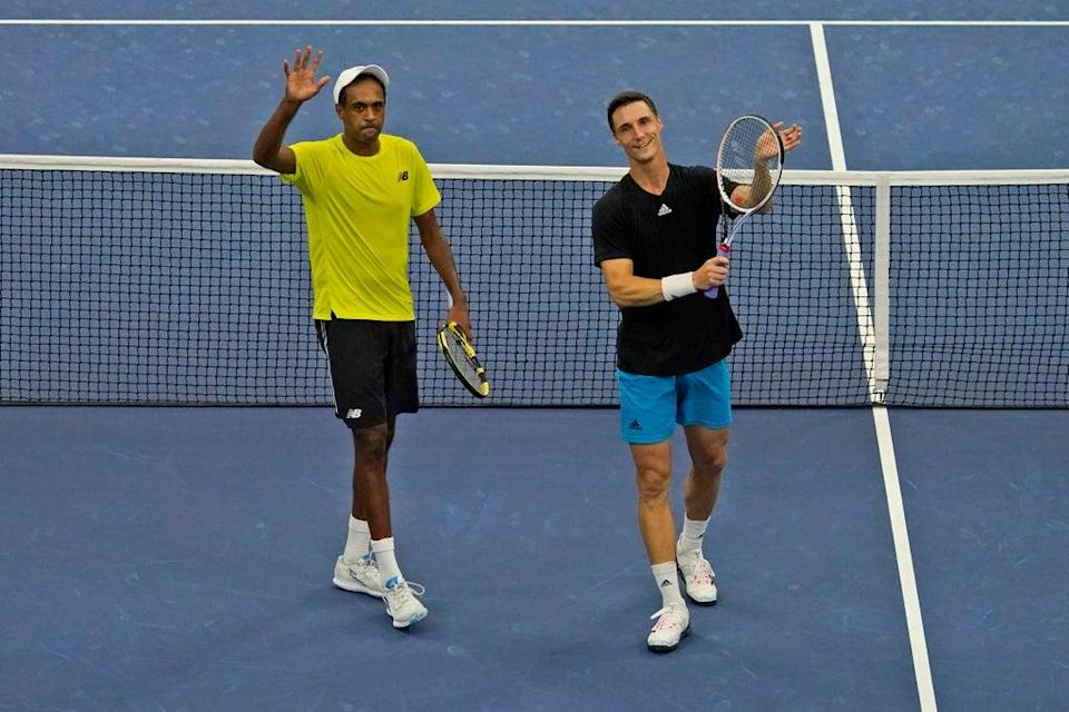 Joe Salisbury, right, and Rajeev Ram, left, will take on Murray and Soares in the final (Seth Wenig/AP/PA) (AP)