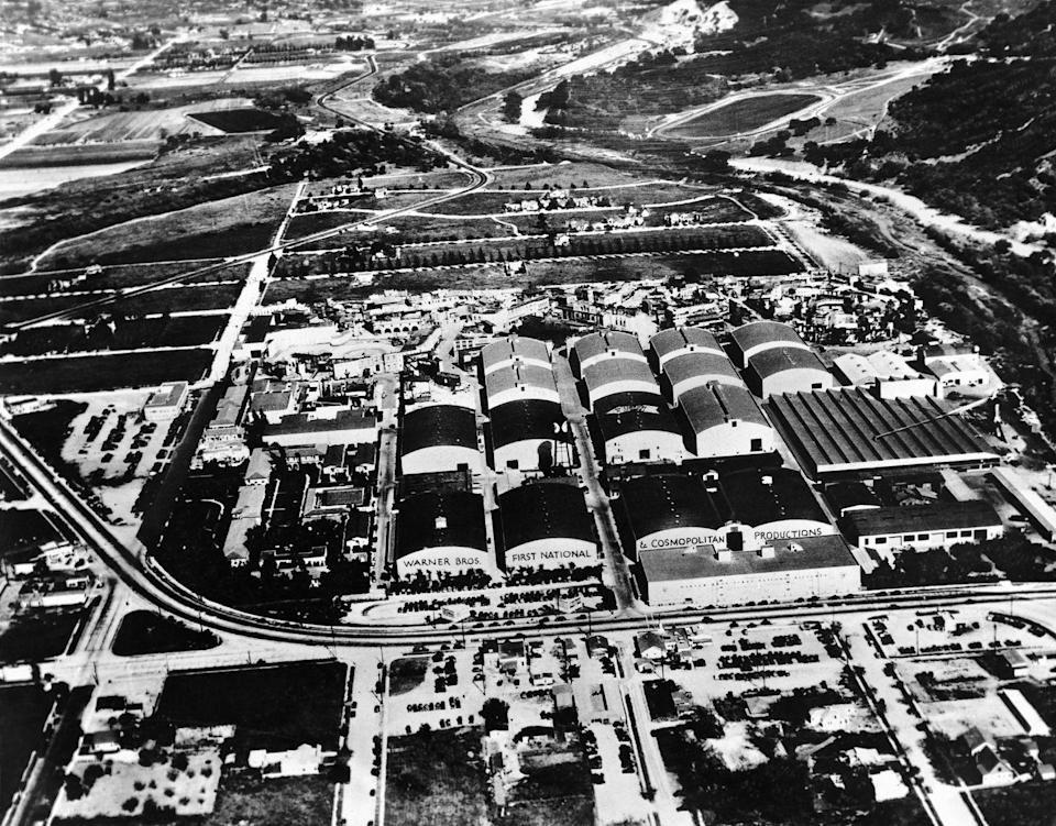 <p>This aerial shot of the original Hollywood Studios shows the three major production companies at the time: Warner Bros., First National, and Cosmopolitan. <br></p>
