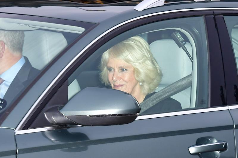 The Duchess of Cornwall leaves the Queen's Christmas lunch at Buckingham Palace, London.