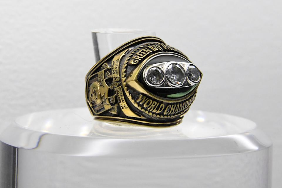 Jan 31, 2018; Minneapolis, MN, USA; A view of Super Bowl II ring to commemorate the Green Bay Packers 33-14 victory over the Oakland Raiders at the Orange Bowl in Miami, Fla. on Jan. 14, 1968. Mandatory Credit: Kirby Lee-USA TODAY Sports