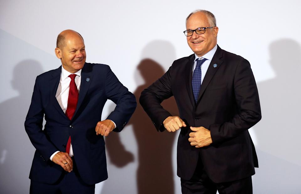 Italian Finance Minister Roberto Gualtieri (R) is welcomed by German Finance Minister Olaf Scholz is welcomed by the German Finance Minister at the Informal Meeting of Ministers for Economics and Financial Affairs in Berlin, on September 11, 2020. (Photo by HANNIBAL HANSCHKE / POOL / AFP) (Photo by HANNIBAL HANSCHKE/POOL/AFP via Getty Images) (Photo: HANNIBAL HANSCHKE via Getty Images)