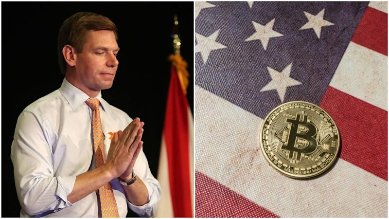 Dark-Horse Democratic presidential candidate Eric Swalwell hopes that Bitcoin donations will propel him toward an unlikely victory against Donald Trump. | Source: Joe Raedle / Getty Images / AFP (i), Shutterstock (ii). Image Edited by CCN.