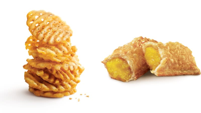 Collage Of Crisscut Fries And Banana Pie