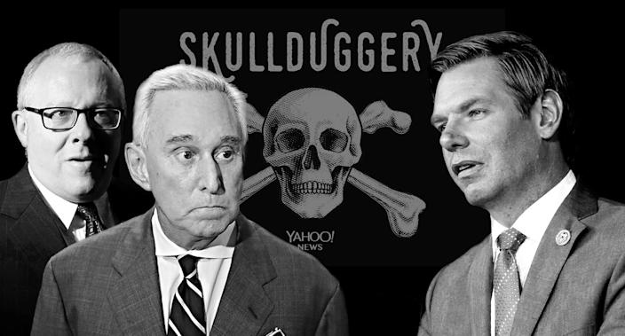 Michael Caputo, Roger Stone and Rep. Eric Swalwell. (Photo illustration: Yahoo News; photos: Kevin Lamarque/Reuters, Joe Raedle/Getty Images, Gibson/Getty Images)