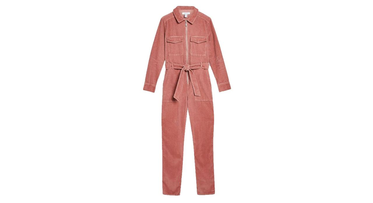 "<p>Boiler suits are still very much on-trend and this corduroy number from Topshop will give you years of wear. It also comes in black, if you're not sure about the pink. It's currently in the sale so move quickly… <a rel=""nofollow"" href=""http://www.topshop.com/en/tsuk/product/clothing-427/playsuits-jumpsuits-2159081/pink-corduroy-boiler-suit-8358945""><em>Shop now.</em></a> </p>"