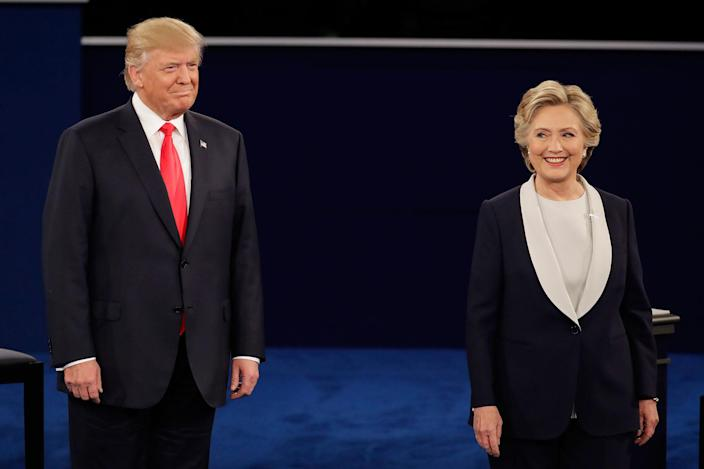 Trump stands next to Clinton during the second presidential debate, Oct. 9, 2016. (Photo: Julio Cortez/AP)