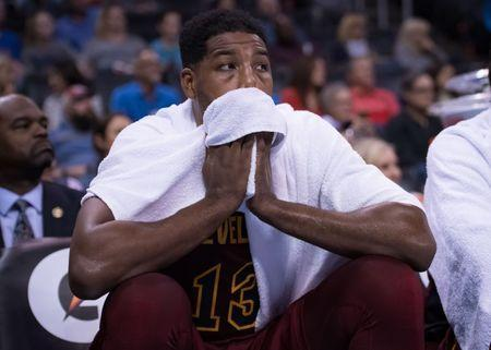 FILE PHOTO: Nov 28, 2018; Oklahoma City, OK, USA; Cleveland Cavaliers center Tristan Thompson (13) reacts on the bench during the fourth quarter against the Oklahoma City Thunder at Chesapeake Energy Arena. Mandatory Credit: Rob Ferguson-USA TODAY Sports