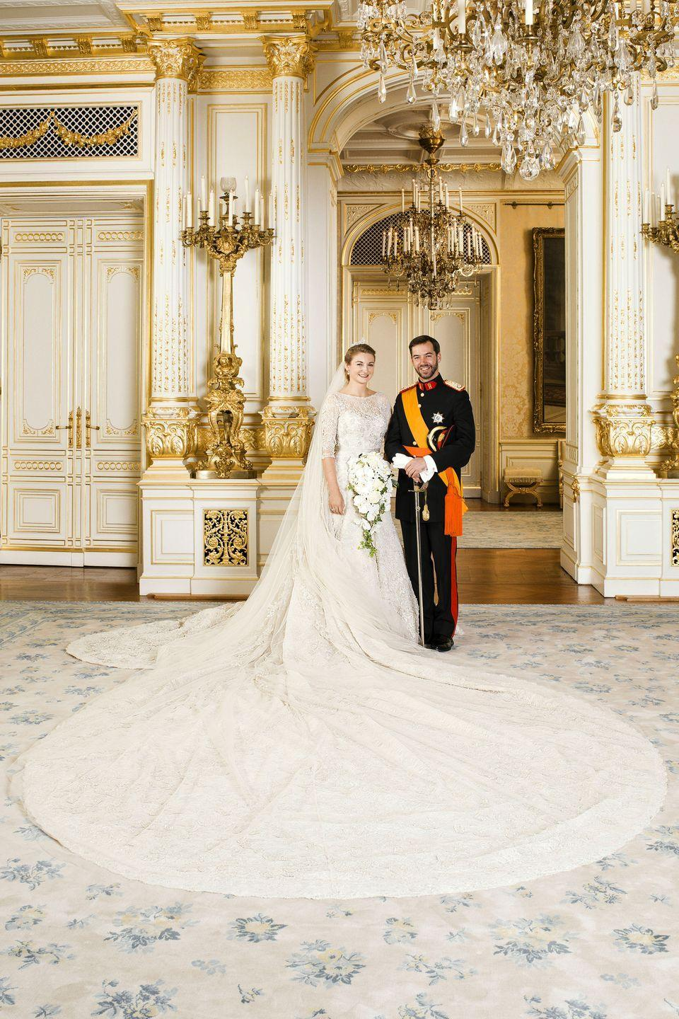 "<p>When asked if she believes in Prince Charming <a href=""http://royalweddings.hellomagazine.com/guillaume-luxembourg-stephanie-lannoy/news/201210081205/prince-guillaume-stephanie-interview/"" rel=""nofollow noopener"" target=""_blank"" data-ylk=""slk:during an interview"" class=""link rapid-noclick-resp"">during an interview</a> leading up to this couple's 2012 wedding, Stephanie Lannoy remarked, ""Not only do I believe in it, I also think I found it. I remember the day I met Guillaume I told a friend–who by the way is going to be maid of honor at our wedding–I had found an exceptional man with whom I shared many things in common. I really did not think such a man could exist. So of course I believe in Prince Charming.""</p>"