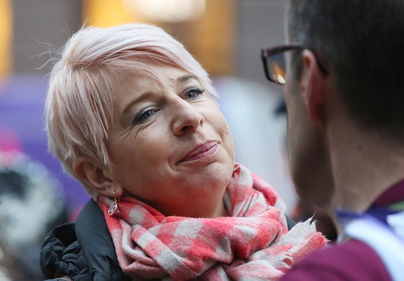 Katie Hopkins outside the Royal Courts of Justice in London, where Sergeant Alexander Blackman, who is serving life after being found guilty of murdering an injured Afghan fighter faces a wait until next week to see if he will be freed pending a new challenge against his conviction. (Photo by Philip Toscano/PA Images via Getty Images)